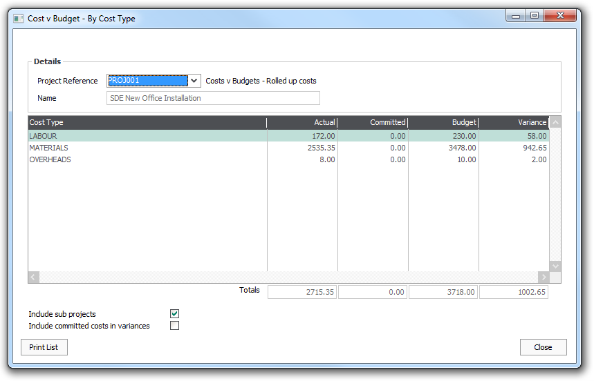Ask Sage - Projects - Enter and compare budgets to costs