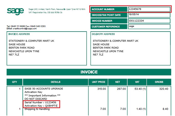 sage 50 forecasting, Invoice examples